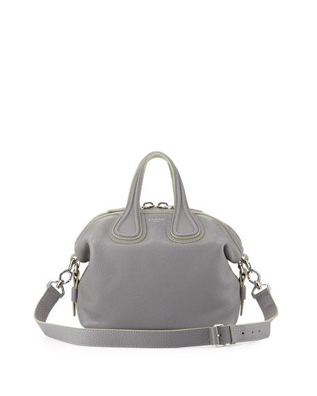 Givenchy Nightingale Medium Grain Bicolor Satchel Bag, Gray