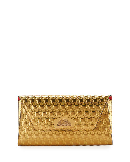 Christian Louboutin Vero Houndstooth-Embossed Clutch Bag