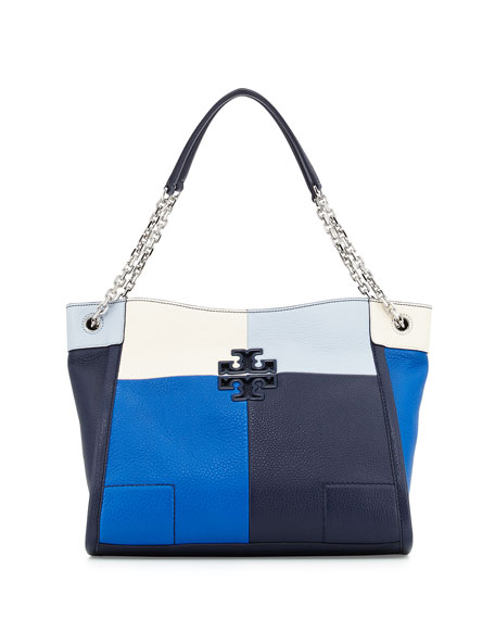 Tory Burch Britten Patchwork Shoulder Bag, Bondi Blue/Multi