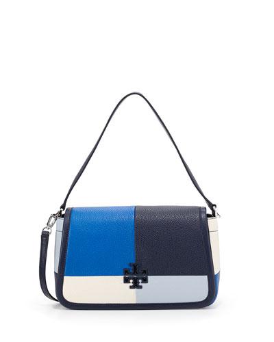 Britten Patchwork Small Shoulder Bag, Bondi Blue/Multi