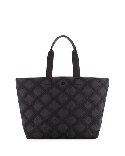 Flame-Quilt Nylon Tote Bag, Black