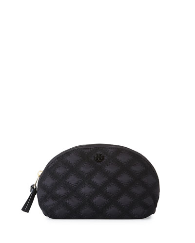 Flame-Quilt Rounded Cosmetic Case, Black