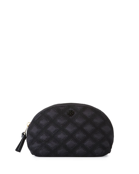 Tory Burch Flame-Quilt Rounded Cosmetic Case, Black
