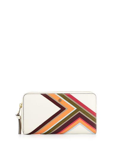 Robinson Multi-Stripe Continental Wallet, New Ivory