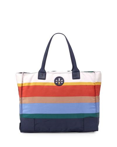 Ella Printed Packable Tote Bag, Journey Stripe