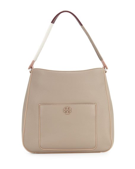 Tory Burch Berkeley Wrap-Strap Hobo Bag, French Gray/Multi