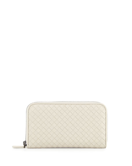 Bottega Veneta Intrecciato Continental Zip-Around Wallet, Mist