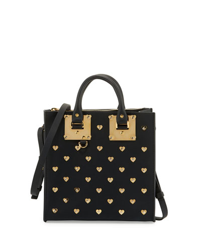 Square Albion Hearts Leather Box Tote Bag, Black