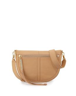 Scott Mini Moon Leather Saddle Bag, Natural Tan