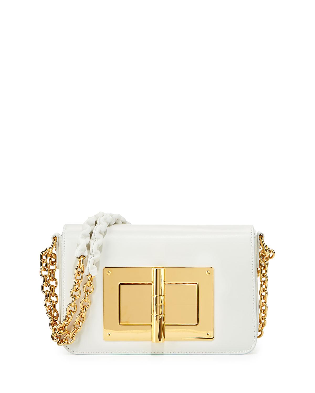 49e805a9540 TOM FORD Natalia Small Chain Crossbody Bag, White   Neiman Marcus