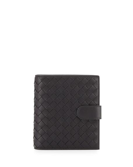 Bottega Veneta French Woven Leather Wallet, Black