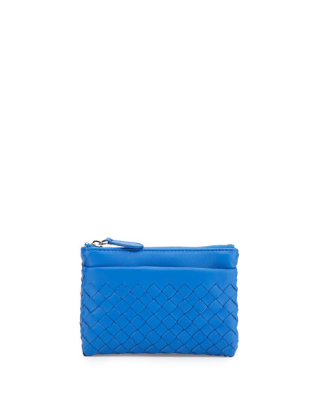Bottega Veneta Zip-Top Intrecciato Key Pouch w/ Outside