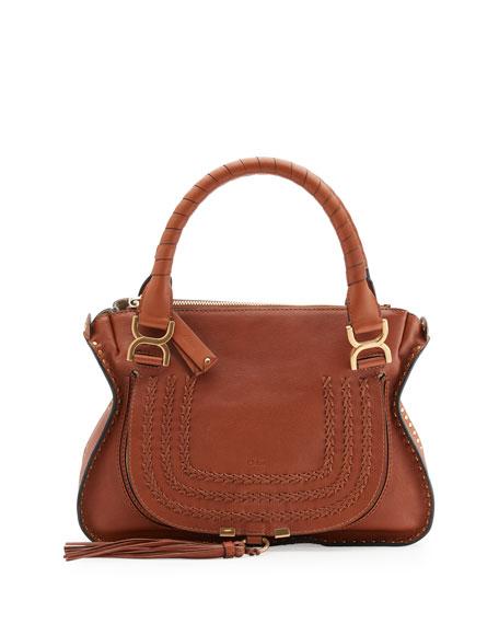 Chloe Marcie Medium Studded Satchel Bag, Caramel