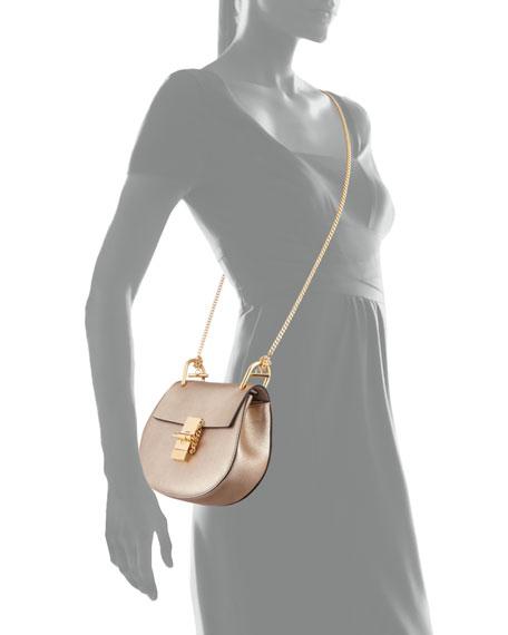 Drew Mini Metallic Leather Crossbody Bag, Gold