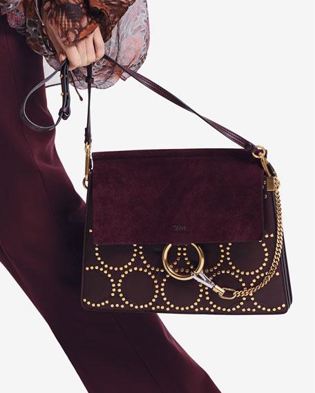 Faye Medium Studded Circle Shoulder Bag, Dark Purple