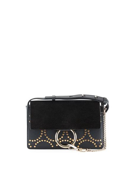 Chloe Faye Small Studded Circles Shoulder Bag, Black