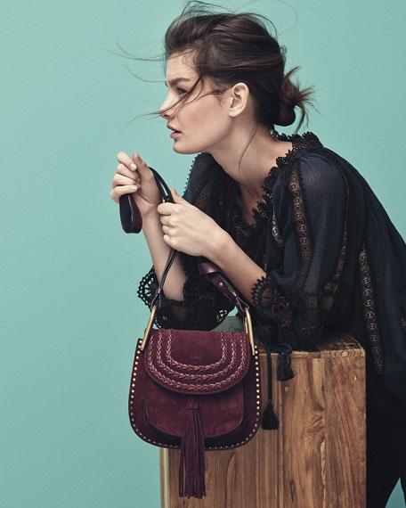 Chloe Hudson Small Suede Shoulder Bag, Dark Purple