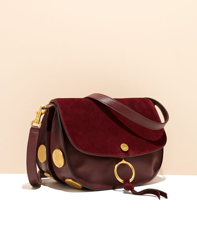 Kurtis Medium Suede/Leather Studded Shoulder Bag, Dark Purple