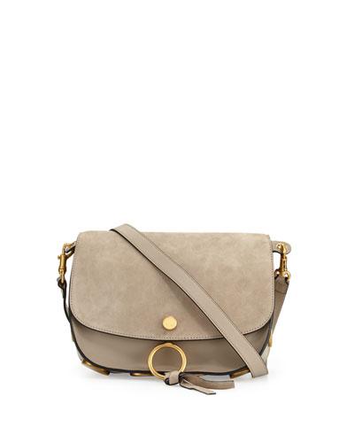Kurtis Medium Suede/Leather Studded Shoulder Bag, Light Gray