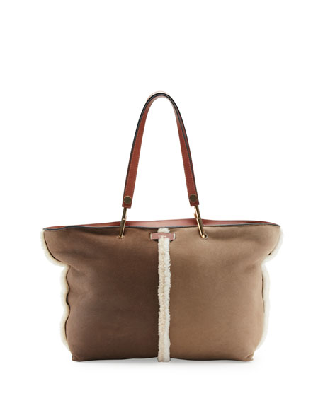 cloie bags - Chloe Keri Medium Shearling Tote Bag, Brown