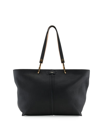 Keri Medium Grained-Leather Tote Bag, Black