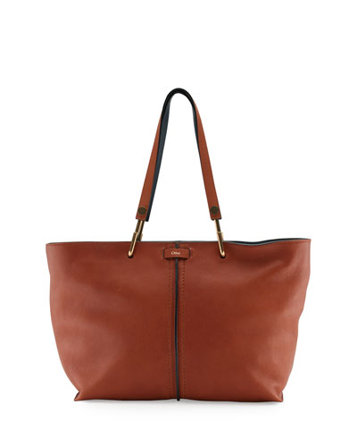 Keri Medium Grained Leather Tote Bag, Caramel
