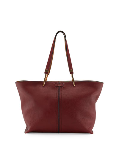 Keri Medium Grained Leather Tote Bag, Dark Red