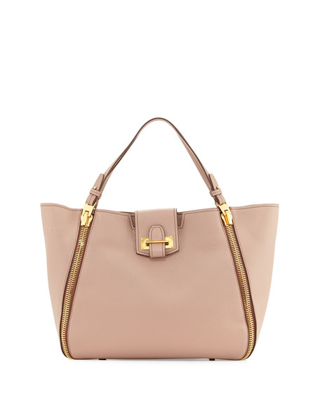 TOM FORD Sedgewick Medium Leather Zip-Trim Tote Bag,