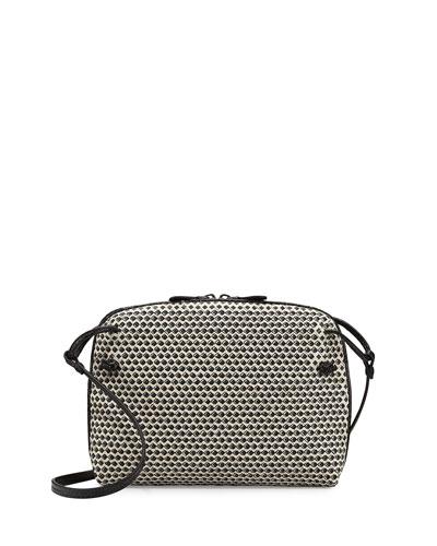 Small Intrecciato/Cravatteria Crossbody Bag, Off White/Black