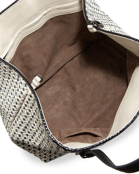 A-Shape Medium Intrecciato/Cravatteria Tote Bag, Off White/Black