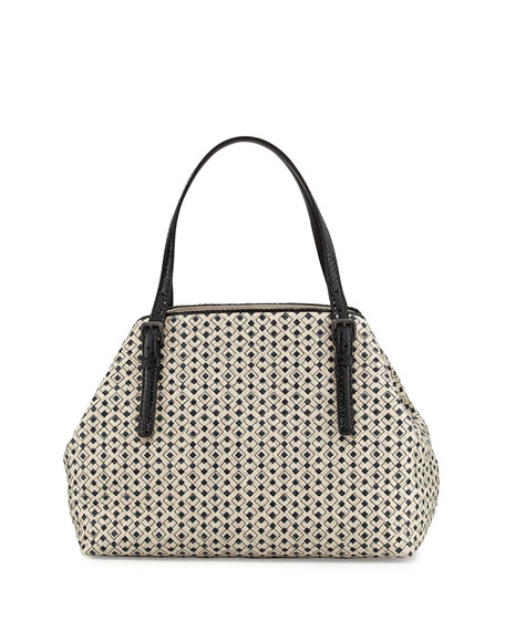 Bottega Veneta A-Shape Medium Intrecciato/Cravatteria Tote Bag, Off White/Black
