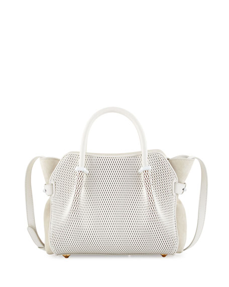 Nina Ricci Marche Extra-Small Leather Satchel Bag, White