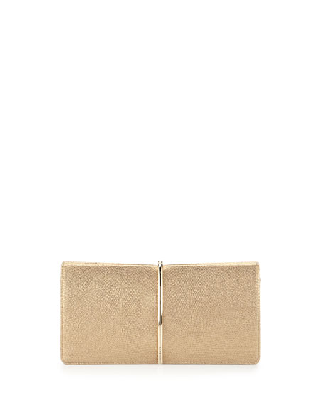 Arc Embossed-Leather Clutch Bag, Gold Metallic