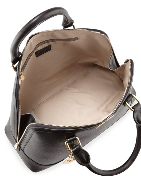 Versace Double Top-Handle Leather Satchel Bag, Black