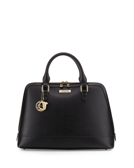 Versace Double Top-Handle Leather Satchel Bag, Black