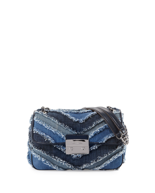 1f601b6fac3f MICHAEL Michael Kors Sloan Denim Large Chain Shoulder Bag, Multi Blue