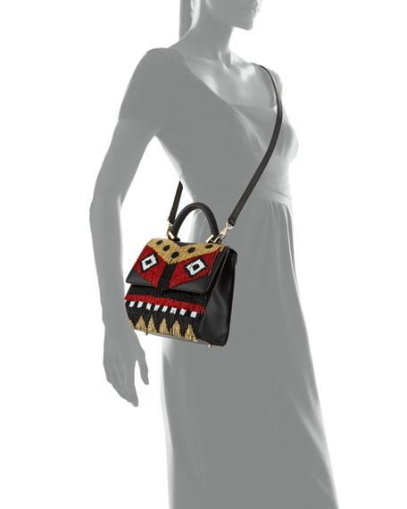 Alex Mini Disco Fringe Satchel Bag, Black