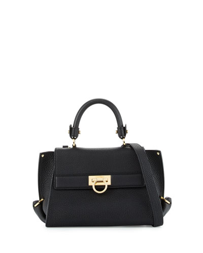 Sofia Small Flap Satchel Bag, Nero