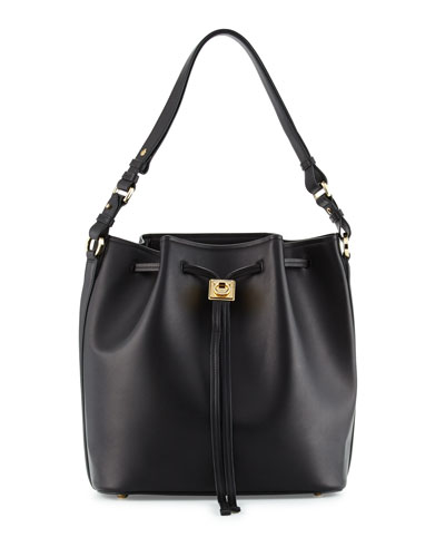 Sansy Leather Bucket Bag, Nero