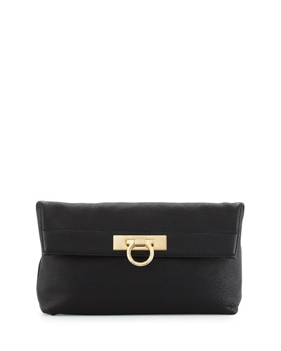 May Leather Clutch Bag, Nero
