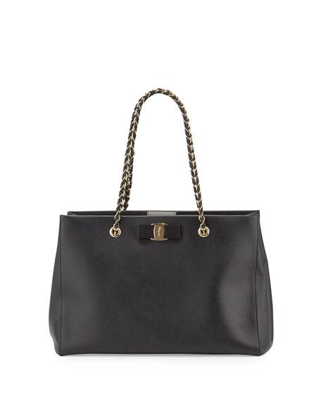 Salvatore Ferragamo Melike Leather Bow Tote Bag, Black