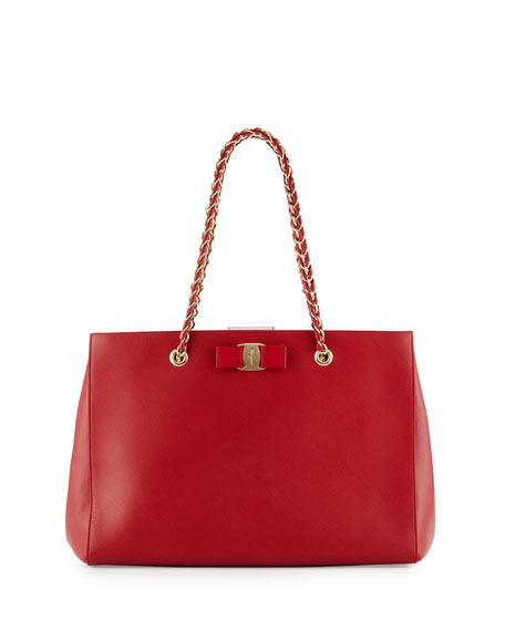 Salvatore Ferragamo Leather Tote Bag, Rosso