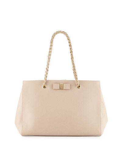 Melike Leather Tote Bag, New Bisque