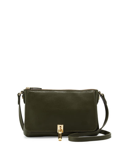 Cynnie Leather Micro Crossbody Bag, Olive