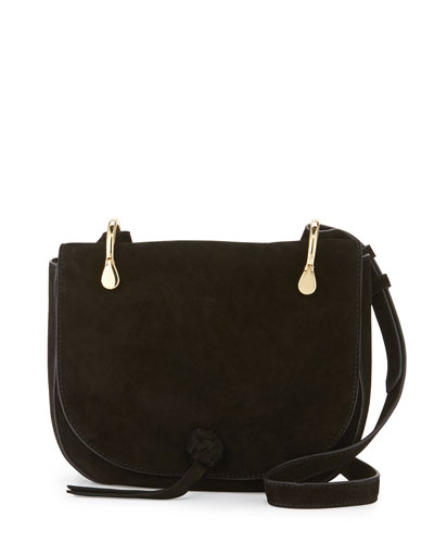 Zoe Suede Saddle Bag, Black