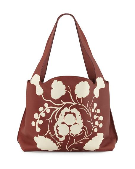 THE ROW Duplex Satchel Bag w/Floral Inlay, Sienna/White