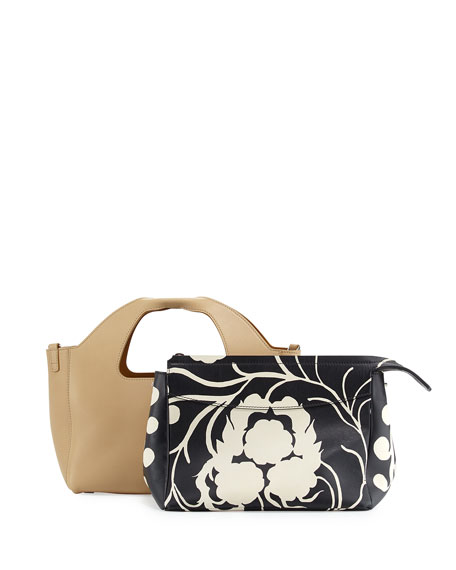 THE ROW Two for One 10th Floral Tote Bag, Caramel/Black
