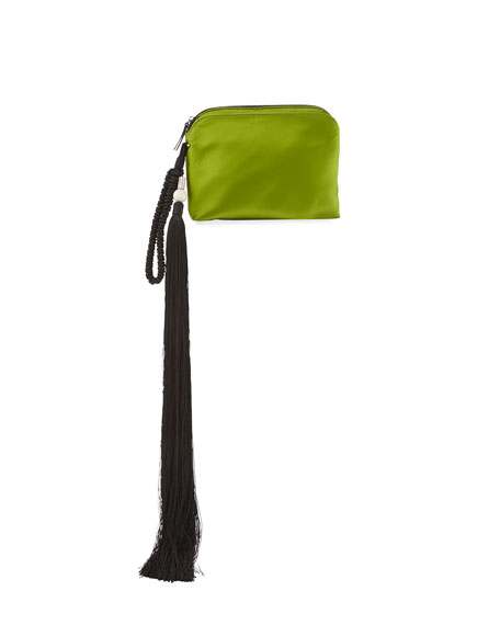 THE ROW Satin Tassel Detail Wristlet Bag, Lime