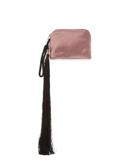 Satin Tassel Detail Wristlet, Pink