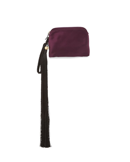 THE ROW Satin Tassel Detail Wristlet Bag, Grape